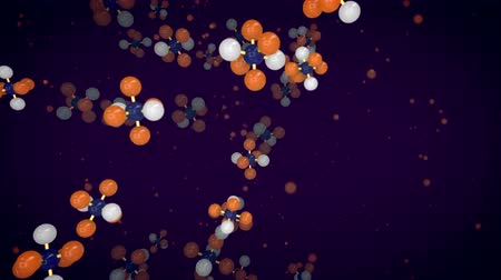 An exciting 3d rendering of orange, white and blue atoms linked in volumetric molecular structures flying up in the dark violet background. It looks like a medical research in a modern laboratory.