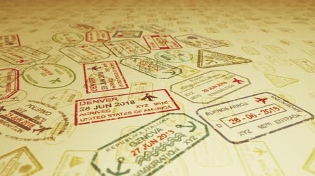 pasaport : A horizontal panoramic 3d rendering of travel stamps flying and landing on slanting sandy surface full of visa marks in the camel yellow background. It looks inspiring and optimistic.