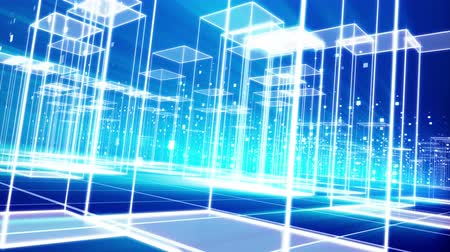 A diagonal pan 3d rendering of a hi-tech virtual city with many see-through cubic buildings put on a grate from squares in the blue background. They are the same and look advanced.