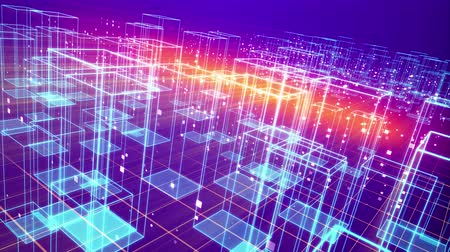 An advanced 3d rendering of a cyberspace urban territory with dazzling crystal houses and plasma looking bottoms put on a network from squares in the violet background placed askew. Dostupné videozáznamy