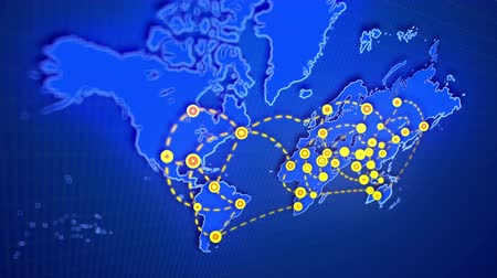 A striking 3d rendering of an abstract world map connecting big yellow cities, presented like shimmering rounds, with moving white lines put on rectangular grid in the dark blue background. Stock Footage