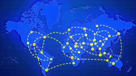 A flashy 3d rendering of an abstract world map linking big yellow cities, marked with glitzy rounds, with moving white lines placed on rectangular grid in the dark blue background.