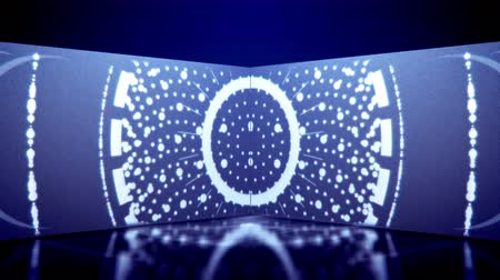 boru hattı : An optical art 3d rendering of neon tunnel movement of white oval lines and snow looking spots dancing in a kaleidoscopic way in the blue background. They move, spin and look cheery. Stok Video