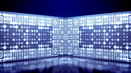 An opt art 3d rendering of neon tunnel movement of white lines and squares playing kaleidoscopic games in the blue background. They rotate, grow bigger, turn right and left, and look funny. Stok Video