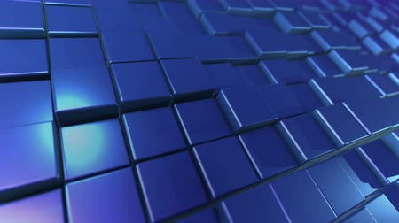 preslenmiş : An exciting 3d rendering of dark blue cubes and rectangles lit with shining side sun rays. They form a flat background resembling a computer keyboard placed diagonally.