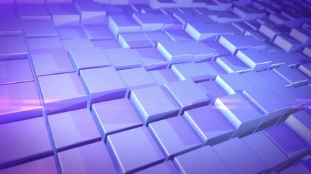 прессованный : An impressive 3d rendering of white and blue cubes lit with sparkling sun rays. They compose a background resembling a computer keyboard placed askew. Стоковые видеозаписи