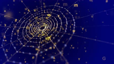feiticeiro : A wonderful 3d rendering of a spider net placed askew in the dark blue background. It looks old and at the same time futuristic because of flying computer symbols and some golden figures Stock Footage