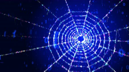 A holographic 3d rendering of a celester spider net looking portal with a plasma center in the blue background. It rotates slowly among flying cyberspace numbers forming sparkling rays. Stok Video