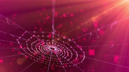 feiticeiro : An unusual 3d rendering of a spider web placed aslant in the dark purple background. It looks ancient and at the same time futuristic because of flying computer signs and some white figures.