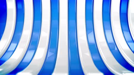 A pop art 3d rendering of colorful curvy strips moving aside as a result of a horizontal panoramic shot. Their blue and white colors create the mood of art and innovation. Stok Video