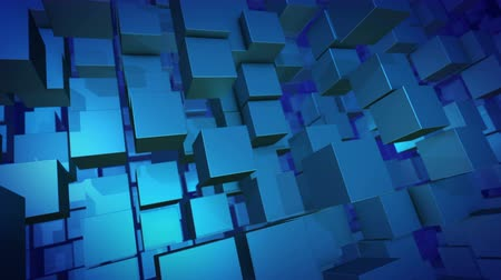 オリジナル : An optical art 3d rendering of sparkling blue columns of flying cubes moving aside. They are shot like a horizontal panorama and form the spirit of innovation and development