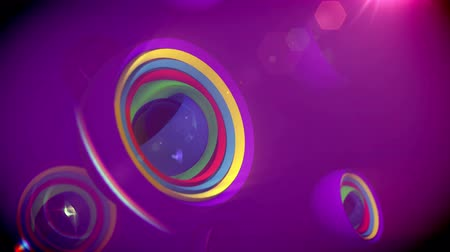 optimistický : A splendid 3d rendering of nested objects of rainbow colors spinning in a large sphere in the violet background. They create the mood of fun and optimism in seamless loops.