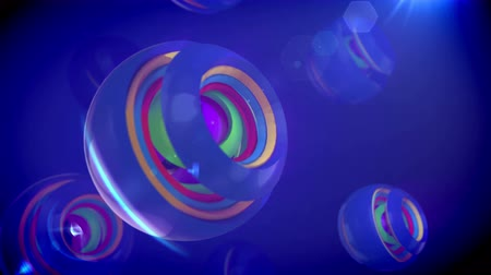 eye ball : A wonderful 3d rendering of nested camera objects of rainbow colors turning in a large sphere with splits in the blue background. They create the mood of joy and innovation in seamless loops.