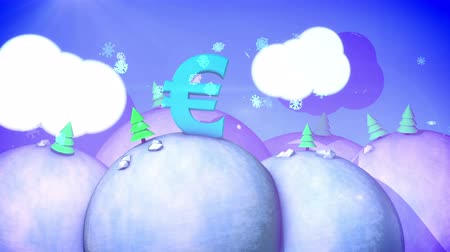 infantil : A celebratory 3d rendering of a sunny winter landscape with snowy hills, fir trees, white meadows, spinning snowflakes and blue sky with fluffy clouds, big euro symbol in seamless loops.