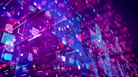 rohanó : An advanced 3d rendering of multidimentional cyberspace with moving diagonally computer signs including fingerprints, pluses, stars, in the violet backdrop in seamless loop.