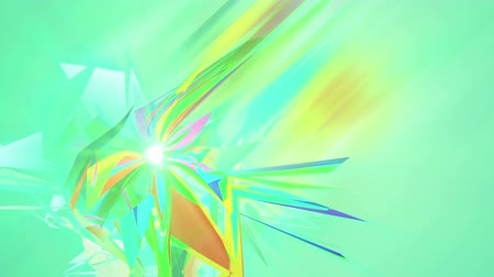 opção : An artistic 3d rendering of polygonal and multishaped triangles spinning around in the light green background. They create the mood of abstract art and fest in seamless loop.