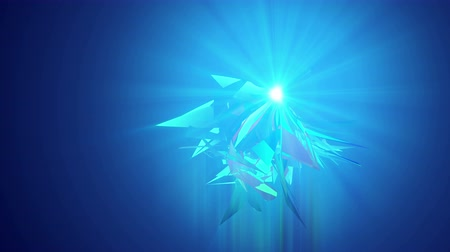 opção : A futuristic 3d rendering of shining see-through triangles spinning around like alive crystals in the light blue background. They generate the mood of high art in seamless loop.