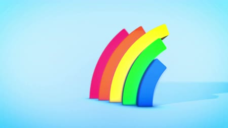 dois objetos : A cheerful 3d rendering of two rainbow arches springing up and down in spiral ways in the celeste background. They form the spirit of fun and youth in seamless loop. Stock Footage