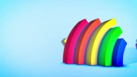 cheerfulness : A jovial 3d rendering of three rainbow arches jumping diagonally in spiral ways in the celeste background. They generate the mood of optimism and cheerfulness in seamless loop.