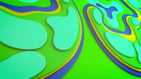 cheerfulness : Optimistic 3d rendering of light blue and green plastic blobs having three tops moving askew in a childish way in seamless loop. They generate the feeling of holiday and happiness.