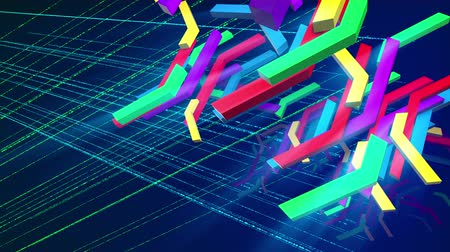 fluorescent : Astonishing 3d rendering of plummeting colorful technical bars having crisscross and zigzag shapes in the dark violet background with a hexagonal grid in seamless loop. They look cheery Stock Footage