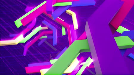 ziguezague : Cheery 3d rendering of falling down multicolored technical bars having interlaced and crisscross shapes in the dark violet background with a hexagonal grid in seamless loop. They look festive.