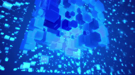 rögzített : Wonderful 3d rendering of rotating celeste cubes fixed together as a macrostructure in the blue background with flying and glowing square spots in seamless loop. Stock mozgókép