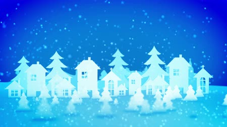 cam : Cheery 3d rendering of Christmas paper houses and fir trees turning right and left under heavy snow storm from lovely snowflakes. They create the mood of celebration, fun and optimism. Stok Video
