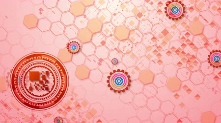 gyerekes : Cheerful 3d rendering of cyber security cogwheels of brown, blue and rosy colors in the pink background in seamless loop. They move diagonally and create the mood of optimism. Stock mozgókép