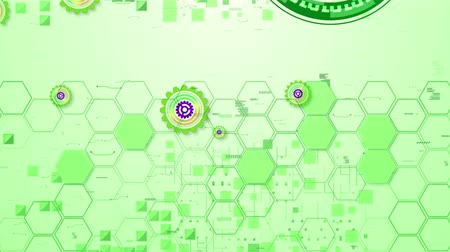 вертикально : Wonderful 3d rendering of cyber security cogwheels of salad, violet and yellow colors in the green hexagonal backdrop in seamless loop. One has a maze. They spin vertically.
