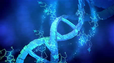 axe : Striking 3d rendering of a spiral looking DNA rotating around its axis in the blue background being placed diagonally. Chemical formulas are spinning nearby too in seamless loop.