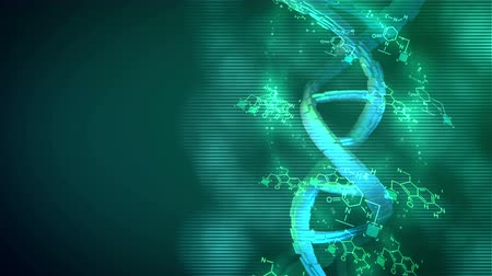 axle : Stunning 3d rendering of a spiral looking DNA rotating around its axis in the blue and pink background placed askew. Chemical formulas are twisting nearby in seamless loop. Stock Footage