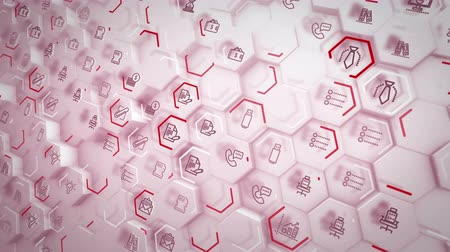 convex : Flaring 3d rendering of business hexagons with pc symbols of staples, screens, hourglasses, linked with each other and having purple lines in the pink backdrop in seamless loop.