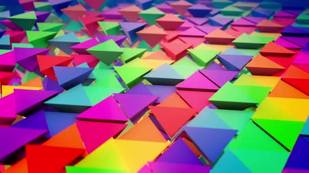 lengthy : Inspiring 3d rendering of multicolored pyramids placed in straight and lengthy rows like a flat surface with pyramids bottoms put up. It looks optimistic and cheerful.