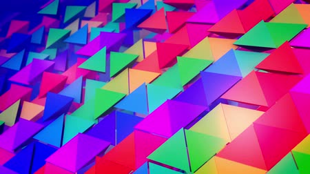lengthy : Encouraging 3d rendering of colorful pyramids located diagonally in straight and long rows as if a group of kids placed them with bottoms up. It looks optimistic, funny and innovative.