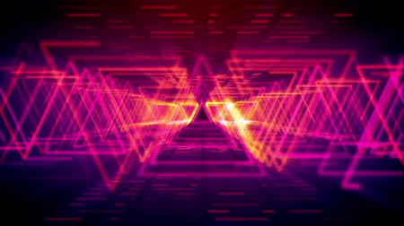passages : Futuristic 3d rendering of sparkling yellow triangles forming long and straight passages for flying objects in the pink cyber reality. It resembles innovative time portals.