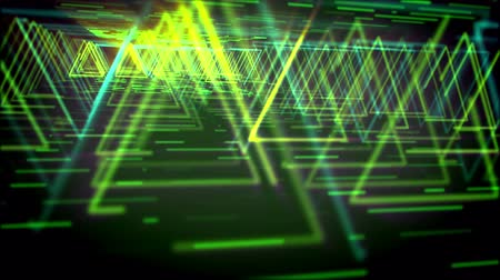 geometryczne : Hi-tech 3d rendering of shimmering yellow triangles making long and straight ways for flying spaceships in the green and black virtual reality. It looks like enigmatic time portals.