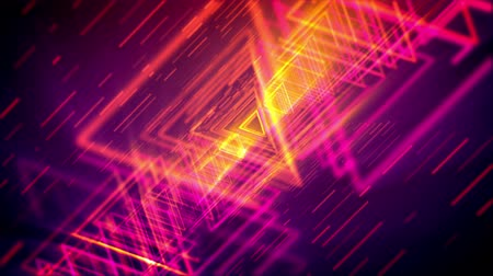 passages : Stunning 3d rendering of glittering yellow and pink triangles forming lengthy and straight tubes for flying objects in the violet cyber reality. It resembles mysterious time portals.