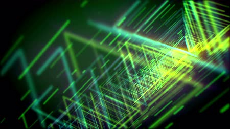 passages : Striking 3d rendering of glittering yellow and salad triangles shaping lengthy and straight pipes for flying objects in the dark green cyber space. It looks like famous time portals.
