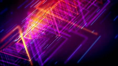 passages : Gorgeous 3d rendering of glittering yellow and pink triangles forming lengthy and straight tubes for flying objects in the violet cyber world. It resembles mystifying time portals. Stock Footage