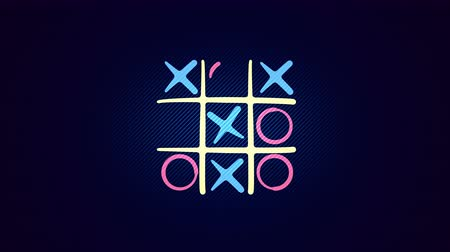 načmárat : Cheery 3d rendering of a noughts and crosses play with a white grid, pink and celeste figures, a winning diagonal end and a line in the blue background. It looks funny and optimistic.