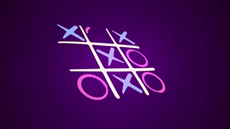 tık : Amazing 3d rendering of atic tac toe game with a white grid, pink and celeste figures, a winning diagonal end and a long line in the violet background placed askew. It looks nice.