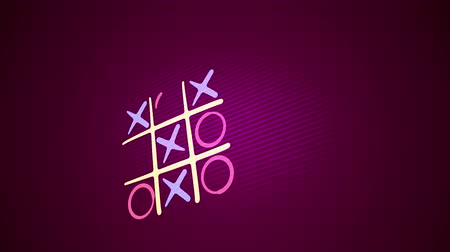 tık : Exciting 3d rendering of a tic tac toe game with a white grid, pink and celeste marks, a winning diagonal end and a long line in the purple background. It looks optimistic and fine.