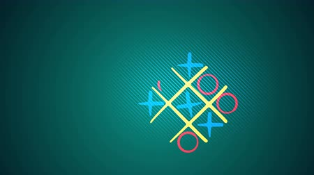 tık : Astonishing 3d rendering of a tic tac toe game with a yellow grid, pink and celeste marks, a victorious diagonal end and a long line in the green backdrop. It looks cheerful. Stok Video