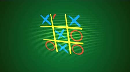 tık : Gorgeous 3d rendering of a noughts and crosses game with a yellow network, orange and blue marks and a victorious diagonal end with a long line in the green backdrop. It`s funny.