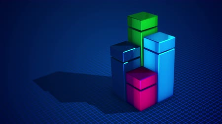 comparar : Impressive 3d rendering of four cubic squares of blue, green, celeste and pink colors forming a chart put on a blue surface with a network. It looks optimistic, cheerful and arty.