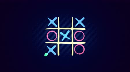 tık : Funny 3d rendering of a noughts and crosses logicl game with a white grid and a winning end and a long light blue line in the black background. It looks childish and cheerful.