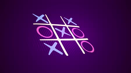 tık : Optimistic 3d rendering of a noughts and crosses game with a white grid, pink and blue marks and an original end with a long line in the black background. It looks hilarious and fine.