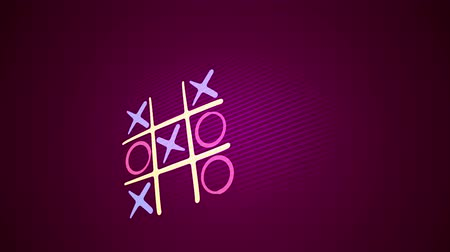tık : Jolly 3d rendering of a noughts and crosses game with a white grid, pink and blue marks and an original end with a long line in the purple background placed aslant. It looks childish.