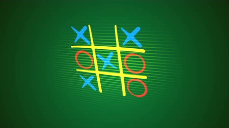 tık : Impressive 3d rendering of a noughts and crosses play with a yellow grid, orange and blue marks and an original end with a long salad line in the green background. It looks childish and nice. Stok Video